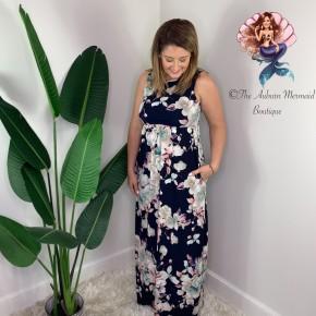 Navy Floral Sleeveless Maxi Dress