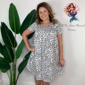 Heathered Gray Leopard Babydoll Dress