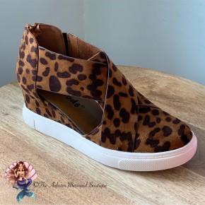 Leopard Wedge Cutout Sneaker