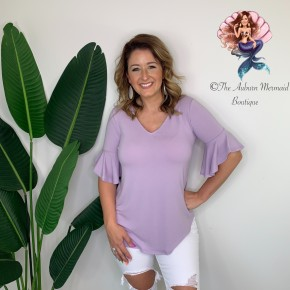 Lavender V Neck Waterfall Sleeve Top