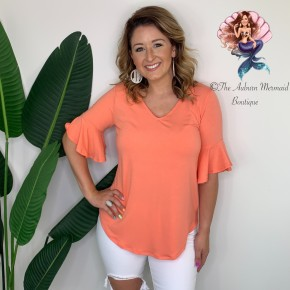 Coral V Neck Waterfall Sleeve Top