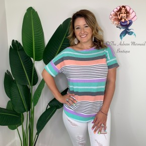 Mint & Coral Striped Top