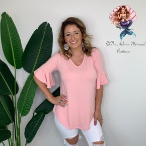 Light Pink V Neck Waterfall Sleeve Top
