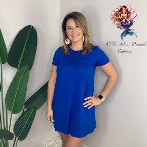 Royal Blue Pocket Swing Dress