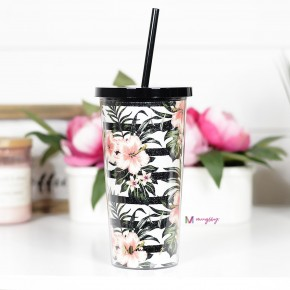 Striped Tropical Floral Tumbler