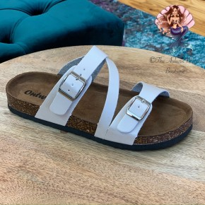 Pearl White Footbed Sandals