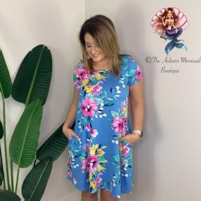 Sky Blue Floral Swing Dress