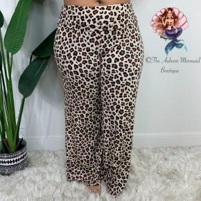 Plus Leopard Palazzo Pants