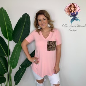 Light Pink V Neck Leopard Pocket Top
