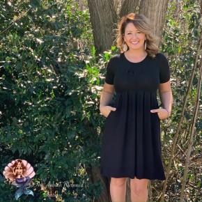 Black Pleated Pocket Dress