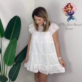 White Eyelet Lace Ruffle Dress