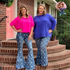Star Print Super Flare Jeans