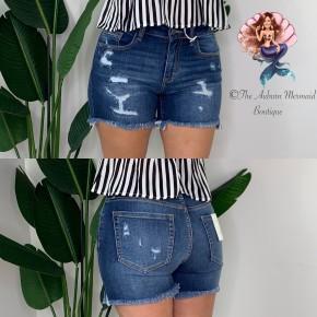High Rise Distressed Cutoff Denim Shorts