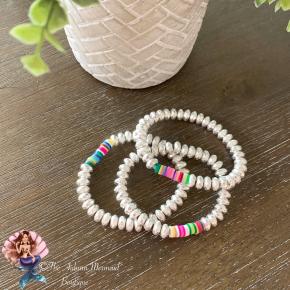 Silver Stretchy Multi Color Bracelet