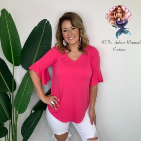 Hot Pink V Neck Waterfall Sleeve Top