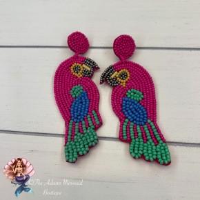 Pink Beaded Bird Earrings