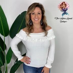 Cream Off Shoulder Ruffle Sweater