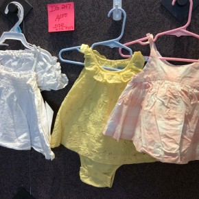 SIZE 6-12 MOS  LIKE NEW LOT OF 3 DRESS SETS
