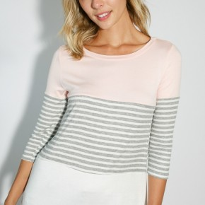 Blush Color Block Top