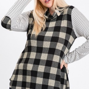 Black and White Plaid Cowl Neck with Striped Sleeves