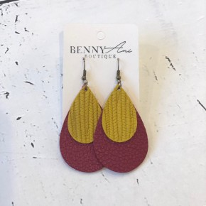 Maroon and Gold Teardrop Earrings