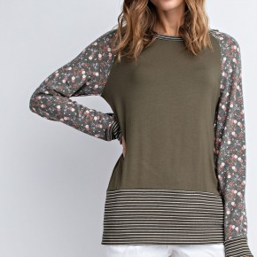Strips and Floral Olive Top