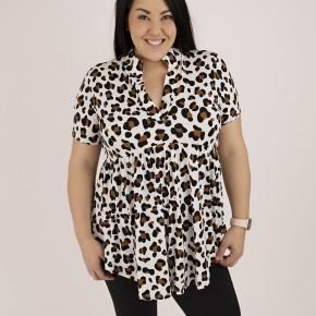 Leopard Collar Top