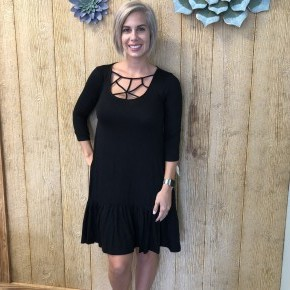 Black Criss Cross Ruffle Dress