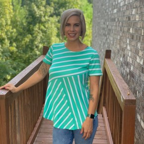 Striped Mint and White Top