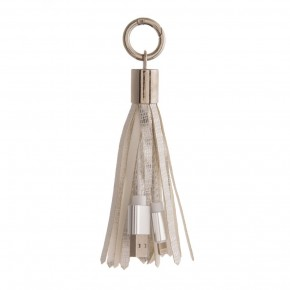 Silver Keychain Tassel Charging Lightning Cable