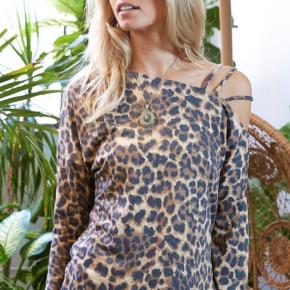 Leopard Cut Out Shoulder Detailed Top