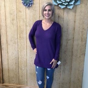Purple V-Neck Waffle Sweater