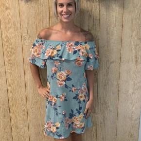 Mint Off The Shoulder Floral Knit Dress