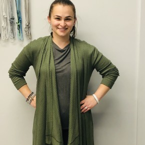 Draped front waffle cardigan army green