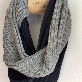Two tone Light gray and Navy Infinity Scarf