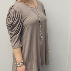 Mocha cold shoulder 3/4 sleeve top
