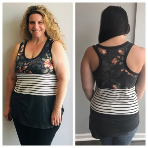 charcoal/ floral/striped color blocked tank