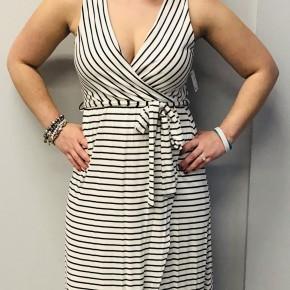 Stripe v neck dress with wrap style tie