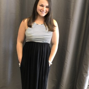 Black and white striped color block maxi dress