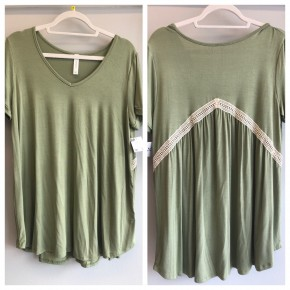 Olive green top with lace trim back