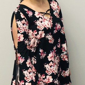 Floral open sleeved shirt and criss cross front