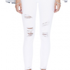 Mid rise Distressed white skinny Jeans