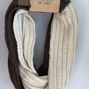 Two tone Brown and Beige Infinity Scarf