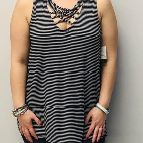 Black and white striped criss cross tank