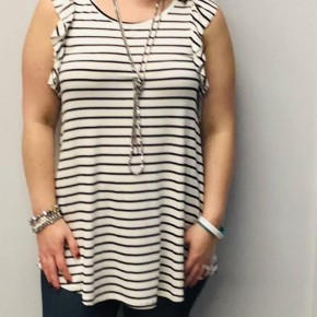 Black and white striped tank top with ruffled racerback