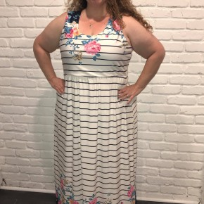 Floral and striped maxi dress