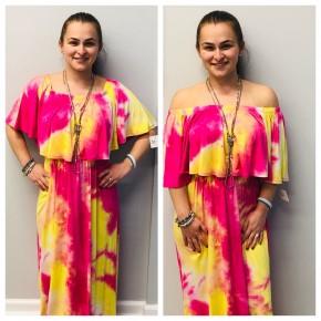 Tie dye Off shoulder flounce maxi dress