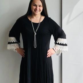 Black 3/4 crochet sleeve dress
