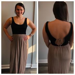 Black and mocha open tie back dress