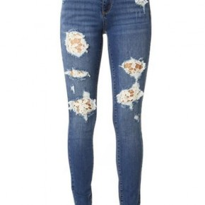 Lace patch distressed jeans